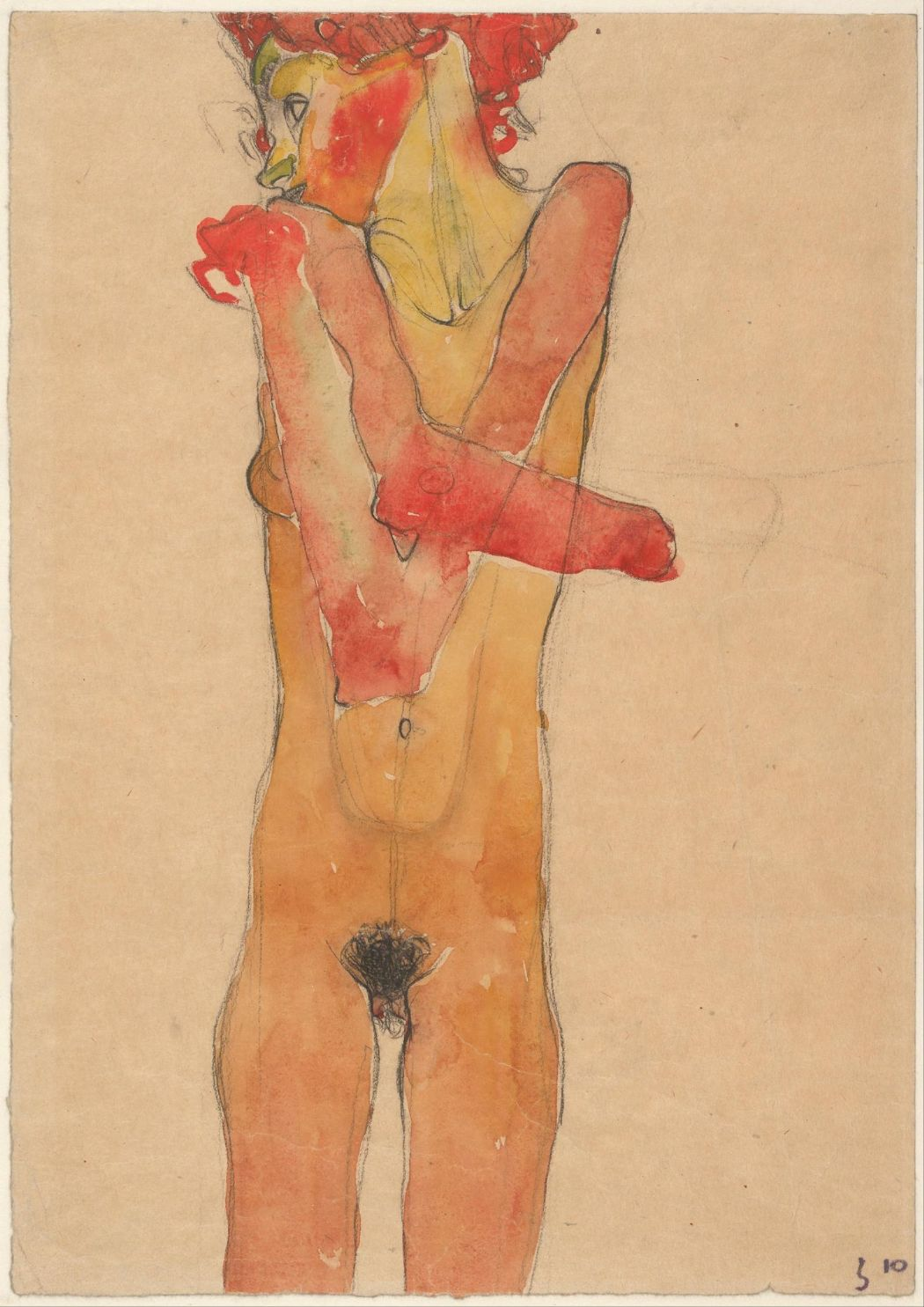 Schiele, Egon: Girl Nude with Folded Arms. Fine Art Print/Poster. Sizes: A4/A3/A2/A1 (003681)